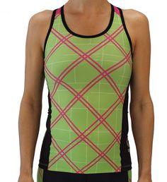 Pink Tartan Women's Triathlon Top #triathlon #triathlongear #activewear #running #sports #shorts