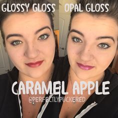 Caramel Apple LipSense with glossy gloss and Opal gloss comparison #229125
