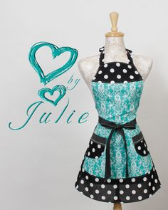 Black white Turquoise apron - perfect for looking great while making sweet treats
