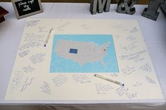 Etsy map guestbook for wedding | Matt & Ian's laid-back, homegrown Maryland wedding at Patapsco Female Institute | Images: Russ Hickman Photography