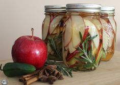 Pickled Apple Slices ... Sweet apples and a spicy brine are a match made in heaven!
