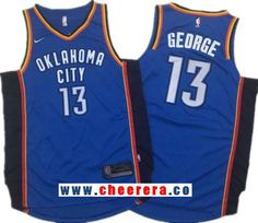 newest ba009 c54e4 Men s Oklahoma City Thunder  13 Paul George Royal Blue 2017-2018 Nike  Swingman Stitched NBA Jersey
