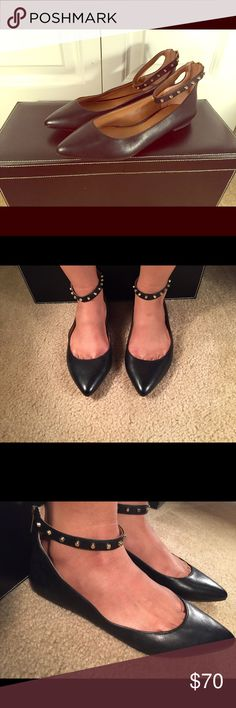 Banana Republic Studded Ankle-Strap Flats These leather flats can be worn with almost anything in both a professional and casual setting and have NEVER BEEN WORN! Open to offers, no trades. Banana Republic Shoes Flats & Loafers