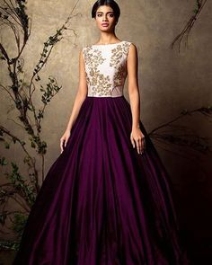 The dark plum color of the skirt