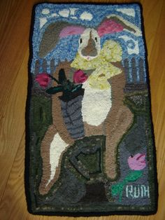 "Easter/Spring Rug completed February 2012. A Bunny with ""Attitude"""