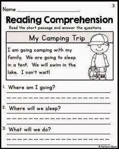 Kindergarten Reading Comprehension Passages   1st Grade