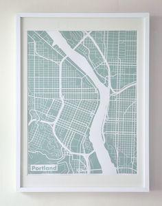 Black Silk-Screen Printed Map of Portland by The Harbinger Co. Map Design, Graphic Design, Design Ideas, Club Design, Portland Map, Downtown Portland, Seattle, Silk Screen Printing, 3d Printing