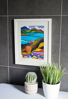 Saileen's works draw out the striking colours of rural Ireland, allowing you, the viewer, to escape and immerse yourself into her vision of her heritage. Irish Pottery, Book And Frame, Fine Art Prints, Canvas Prints, Irish Landscape, Irish Design, Irish Art, Framed Artwork, Picture Frames
