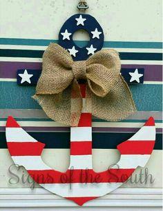 47 Ideas Cruise Door Decorations Ideas Website For 2019 Patriotic Crafts, July Crafts, Cruise Door, Wooden Cutouts, Wooden Door Hangers, 4th Of July Decorations, Diy Wreath, Wreaths, Wooden Crafts