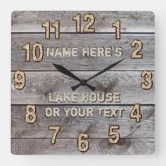 Shop Personalized Rustic Lake House Wall Decor, Clock created by YourSportsGifts. Personalize it with photos & text or purchase as is! Rustic Lake Houses, Rustic Cabin Decor, Rustic Wood, Rustic Homes, Rustic Cabins, Barn Houses, Rustic Gifts, Western Homes, Lodge Decor