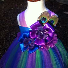 Peacock feather dress, purple royal blue and green