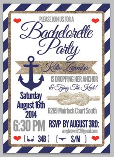 Digital & 10 Prints: Proof of Bachelorette Party Invitation - Nautical Navy and Gold Sparkle