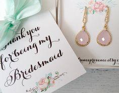 Bridesmaid jewelry set of 5 blush pink earrings Bridesmaid jewelry Bridesmaid Gift Blush Pink Gold Earrings by FranceProvence #TrendingEtsy