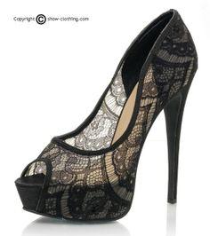 Sandalias con encaje transparente. Plataforma cubierta de 3cm y tacón de 15cm. Irresistibles!!!
