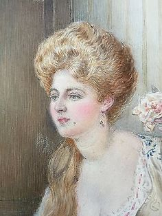 An Elegant Beauty Antique Watercolour Painting by Alfred Praga RBA (1867-1949)