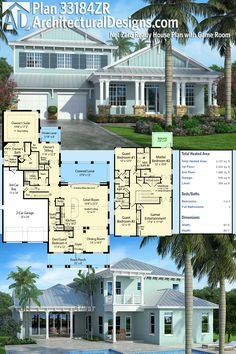 Architectural Designs House Plan 33184ZR has a balcony off the second floor and a covered lanai in back. The home gives you over 4,100 square feet of heated living space. Ready when you are. Where do YOU want to build?