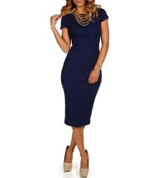 Navy Embossed Fitted Dress