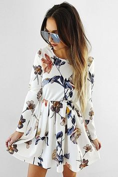 floral white dress for casual occassions
