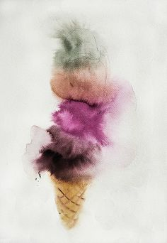 Lourdes Sanchez, ice cream 2013, watercolor, 22 x 15 inches