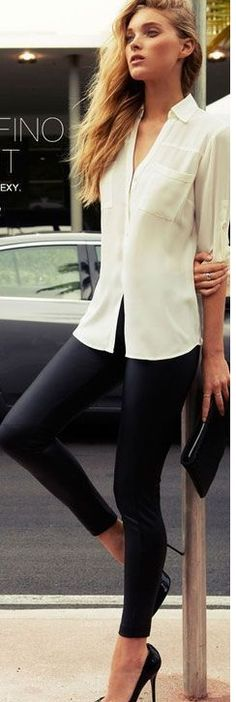 Street style fashion legging and dress shirt.. click on pic to see more