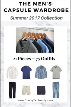 """Click Here To Return To The Blog Go To The E-Book Store  IS YOURCLOSET FULL OF CLOTHES,BUT YOU """"HAVE NOTHING TO WEAR""""? YOU NEED…  The Men's Capsule Wardrobe e-Book: Summer 2017Collection!  A completecapsule wardrobe guide for the Summer season! With all clothes and shoesselected for you PLUS, 75 Complete Outfit Ideas!…"""