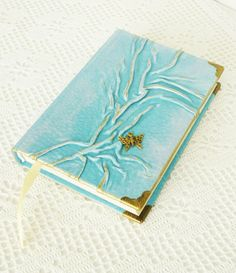 Blue Journal Leather Diary Turquoise Birthday Best by AnnaKisArt  #leatherjournal, #diary, #butterflyjournal, #treejournal, #writingjournal, #turquoisejournal, #tealdiary, #journaldiary #bestfriendgift