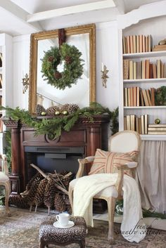 {FRENCH COUNTRY COTTAGE: Christmas in the little cottage} With vintage books galore on the built in bookshelves and an oversized antique mirror on the mantel the living room is my favorite space in the cottage. French Country Christmas, Cottage Christmas, French Country Cottage, French Country Style, French Country Decorating, Christmas Home, Natural Christmas, Xmas, Christmas Cactus