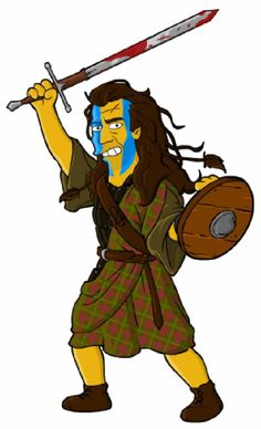 William Wallace from The Simpsons Simpsons Drawings, Simpsons Art, Mel Gibson, Looney Tunes Cartoons, Cool Cartoons, William Wallace Braveheart, The Simpsons Tv Show, Los Simsons, Marvel Dc