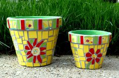 Mosaic Flower Pot Container Yellow Red by MosaicRenaissance