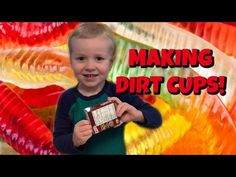 Making Dirt Cups - Kids Make Dessert with Gummy Worms, Pudding, and cookies - Wesley Cooks - YouTube
