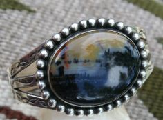 Gorgeous Sterling Silver Stamped Picture Petrified Wood Navajo Cuff 1940s 47g