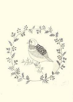 Vogel pentekening border Bird