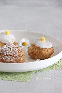 Choux Craquelins au Lemon Curd  Petits Choux Glacés à la Vanille