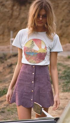 #spring #outfits White Printed Tee & Purple Button-front Skirt