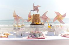 Lovely dessert table at a Dream Beach girl birthday party!  See more party planning ideas at CatchMyParty.com!