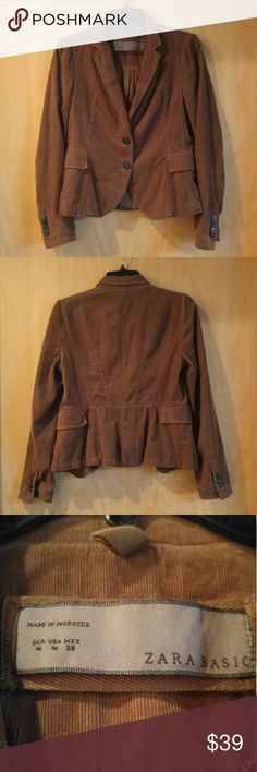 """FINAL PRICE Zara Brown Corduroy Blazer Jacket Zara Basic blazer, size medium, in excellent condition! Only flaw is small pull in thread where arm meets body. Color is milk chocolate brown and the corduroy fabric is soft. Jacket is fully lined, has 2 front buttons, fake front pockets, and 4 buttons on each sleeve. Pair with a dress, leggings, and boots for a sophisticated fall look! Measures 17"""" pit to pit, 20.5"""" length. May fit smaller sizes better. Please ask any questions. No trades. Price…"""