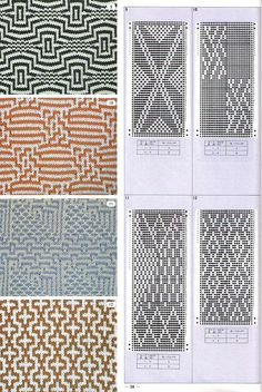 Pattern Library for Punch Card Knitters 1973 - Knitting Charts Knitting Machine Patterns, Knitting Stiches, Knitting Charts, Loom Knitting, Mosaic Knitting, Crochet Chart, Crochet Blocks, Crochet Cross, Pattern Library