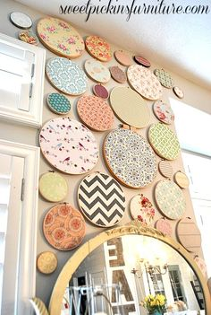 Sweet Pickins Embroidery Hoop Art - very pretty display. For all the fabrics you love but don't know what to do with. Or small pieces you want to save!