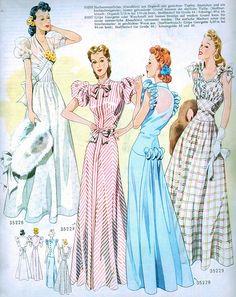 (¯`'•.ೋ…   Vintage Fashion from Wiener Bunte Mode 1940 1940s German Pattern Magazine...Also to take note, in Germany, this is the time of the Nazi Regime.