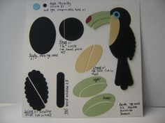 """Toucan punch art uses Stampin' Up's Word Windows, Xtra large oval 1 1/4"""" Circle, Scallop Oval, Large Oval, Itty Bitty Circle punches and the Large Crop-O-Dile hole punch."""