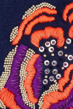 Beading from Matthew Williamson. Learn how to embroider beads like this from experts who work for Chanel, Louis Vuitton and more at https://www.mastered.com/course-listings/3