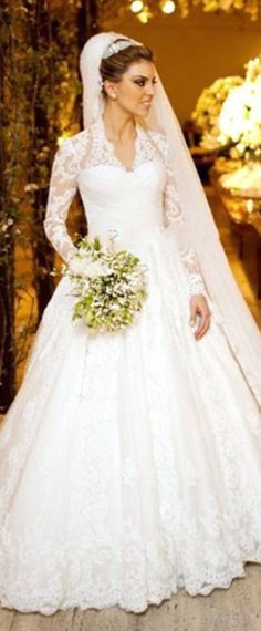 Modest Polka Dot Tulle & Satin V-Neck A-Line Wedding Dresses With Lace Appliques