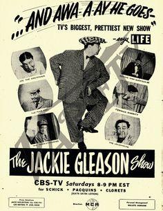 jackie gleason 1950 tv show Jackie Gleason, Retro Advertising, Retro Ads, Vintage Television, Vintage Tv, Vintage Ephemera, Old Shows, Television Program, Classic Tv