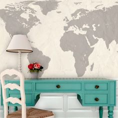 "Swag Paper World Atlas Map Wall Mural Size: 27.6"" H x 36"" W, Color: Cream"