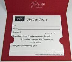 Gift Certificate Holder, Inside