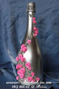 decorative wine bottle by themintdeco Glass Bottle Crafts, Wine Bottle Art, Painted Wine Bottles, Diy Bottle, Bottles And Jars, Wrapped Wine Bottles, Bottle Centerpieces, Altered Bottles, Bottle Painting