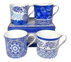 Four bone china mugs with an elegant, floral Dutch blue design.  Includes gift box.  So pretty!