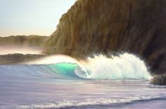 Original seascape oil paintings by Santa Cruz California artist Marc Christian Kunze. Marc grew up along the California coast but spent over 13 years living . Ocean Wave Painting, Ocean Art, Ocean Waves, Santa Cruz California, California Coast, Travel Around The World, Around The Worlds, Song Of Style, Cat Boarding