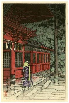 Hasui Japanese Woodblock Print Hei Shrine After Rain 1936