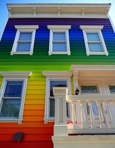 painted rainbow color house